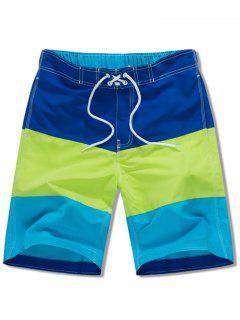 Elastic Drawstring Panel Beach Shorts - Blue S