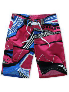 Striped Geometry Print Elastic Drawstring Board Shorts - Rose Red L