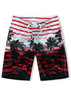 Coconut Tree Stripes Print Drawstring Beach Shorts - Red 2xl