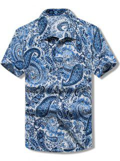 Paisley Print Short Sleeves Casual Shirt - Blue L