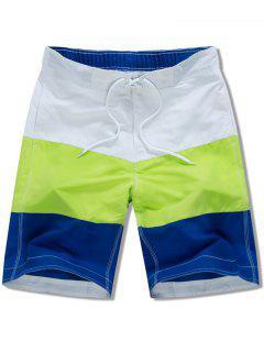Elastic Drawstring Panel Beach Shorts - White M