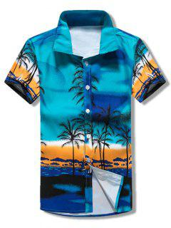 Short Sleeves Coconut Trees Scenery Print Beach Shirt - Blue Xs