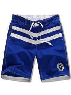 Striped Applique Drawsrting Board Shorts - Blue Xs