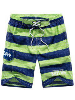 Lettes Print Stripes Drawstring Beach Shorts - Green Xs
