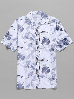 Leaves Printed Short Sleeves Casual Shirt - White Xl