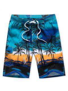 Coconut Palm Print Drawstring Board Shorts - Blue Xs