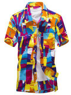 Camisa De Manga Corta Casual Con Estampado De Pintura Abstracta Colorida - Naranja S