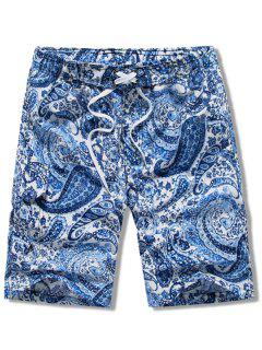 Paisley Print Elastic Drawstring Beach Shorts - Blue L
