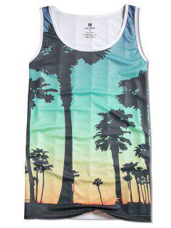 Camiseta De Tirantes De Playa Con Estampado De árboles - Multicolor M