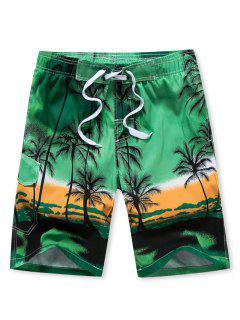 Coconut Palm Print Drawstring Board Shorts - Green 2xl