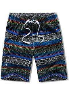 Stripes Print Drawstring Board Shorts - Blue S
