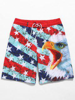 American Flag Eagle Print Drawstring Beach Shorts - Red S