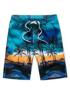 Coconut Palm Print Drawstring Board Shorts - Blue 2xl