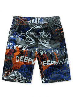 Letters Painting Print Drawstring Board Shorts - Blue Xl