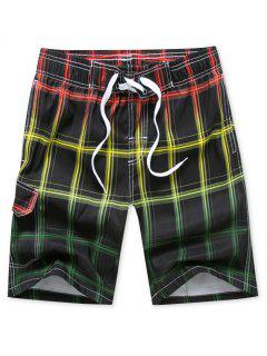 Plaid Printed Drawstring Board Shorts - Red M
