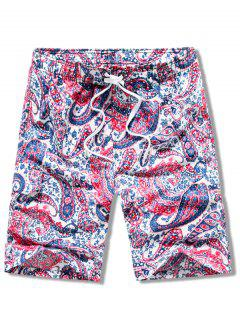 Paisley Print Elastic Drawstring Beach Shorts - Red Xs