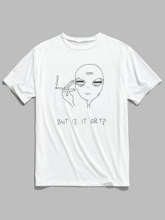 Short Sleeve Funny Pattern T-shirt - White M