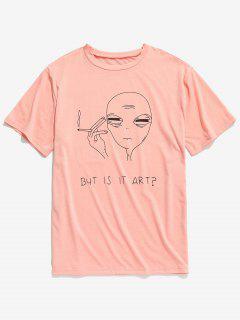 Camiseta Divertida De Manga Corta - Rosa Naranja 2xl
