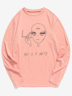 Funny Printed Long Sleeve T-shirt - Orange Pink Xl