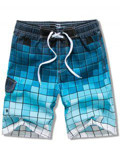Checked Print Elastic Drawstring Board Shorts - Blue 2xl