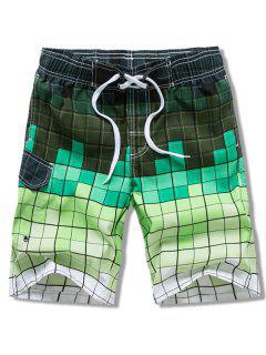Checked Print Elastic Drawstring Board Shorts - Green Xl