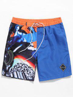 Applique Painting Print Drawstring Beach Shorts - Blue M