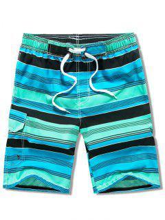 Side Pocket Stripes Print Drawstring Beach Shorts - Shamrock Green L