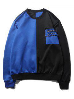 Sudadera Con Capucha Color Block Flap - Azul De Arándanos Xl