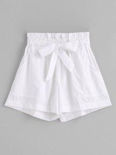 Ruffles Belted Wide Leg Shorts - White S