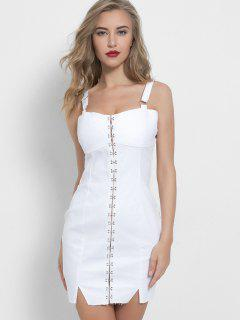 Hook And Eye Bodycon Mini Denim Party Dress - White M