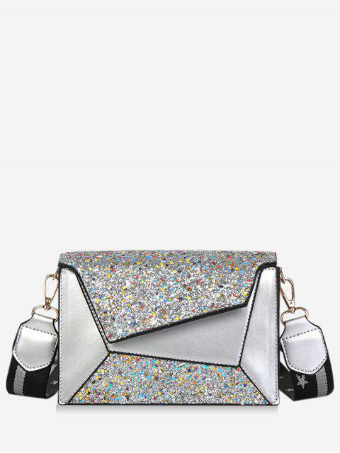 latest Wide Belt Sequin Design Crossbody Bag - SILVER  Mobile