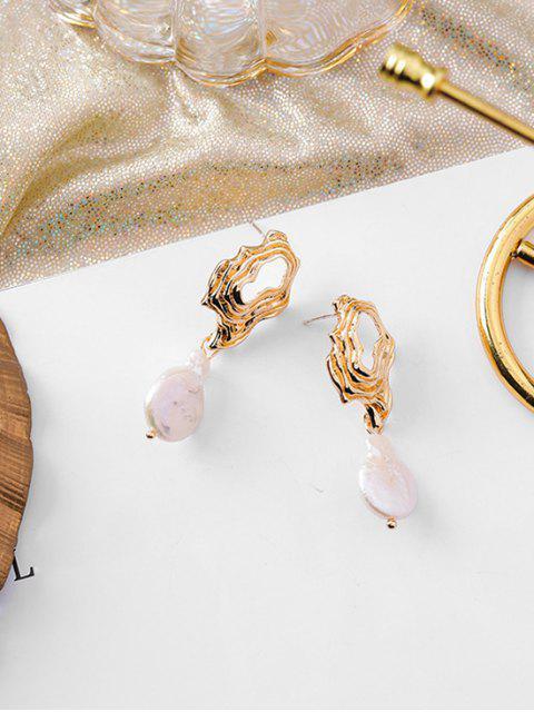 best Faux Pearl Irregular Shape Earrings - GOLD  Mobile