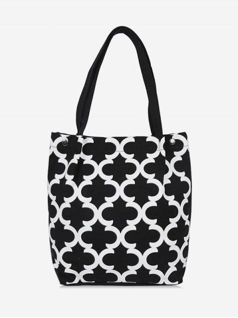 outfit Canvas Letter C Pattern Shoulder Bag - BLACK  Mobile