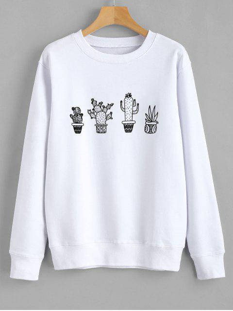 ladies Cactus Graphic Sweatshirt - WHITE M Mobile