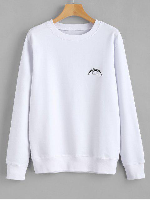 ladies Moon Mountains Graphic Sweatshirt - WHITE 2XL Mobile