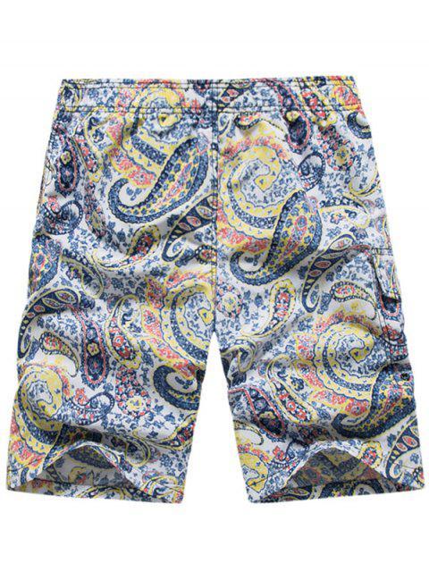 Pantalones cortos de playa con cordón elástico y estampado paisley - Amarillo L Mobile
