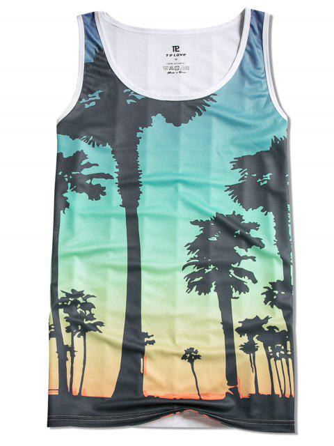 shop Trees Print Beach Tank Top - MULTI M Mobile