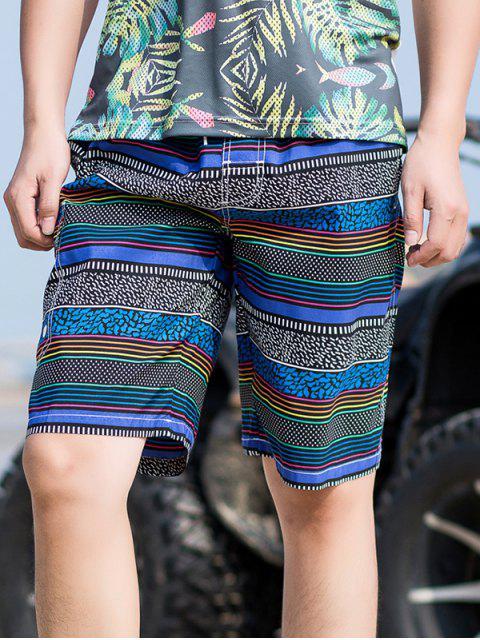 Pantalones cortos con estampado de rayas - Azul M Mobile