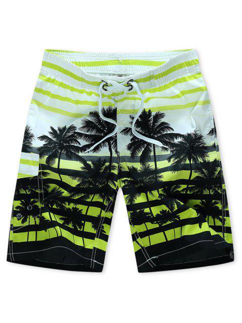 unique Coconut Tree Stripes Print Drawstring Beach Shorts - GREEN YELLOW XS Mobile