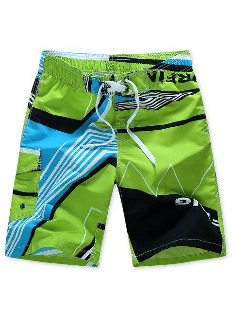 buy Striped Geometry Print Elastic Drawstring Board Shorts - GREEN XS Mobile