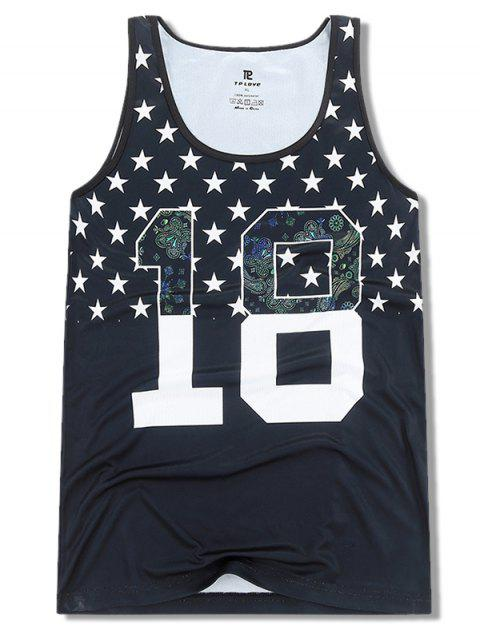 chic Number Stars Print Casual Sports Tank Top - BLACK XS Mobile