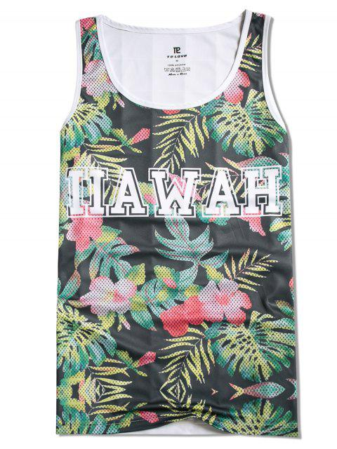hot Leaves Letters Printed Casual Tank Top - MULTI S Mobile