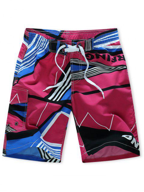 shops Striped Geometry Print Elastic Drawstring Board Shorts - ROSE RED M Mobile
