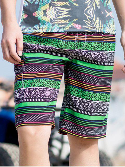 ladies Stripes Print Drawstring Board Shorts - GREEN XS Mobile