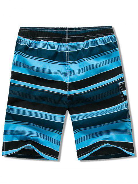 outfit Side Pocket Stripes Print Drawstring Beach Shorts - LAPIS BLUE L Mobile