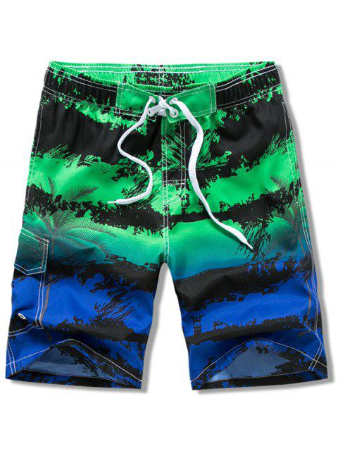 shops Painting Trees Print Drawstring Beach Shorts - GREEN L Mobile