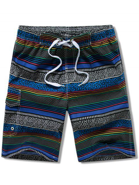 outfits Stripes Print Drawstring Board Shorts - BLUE XS Mobile