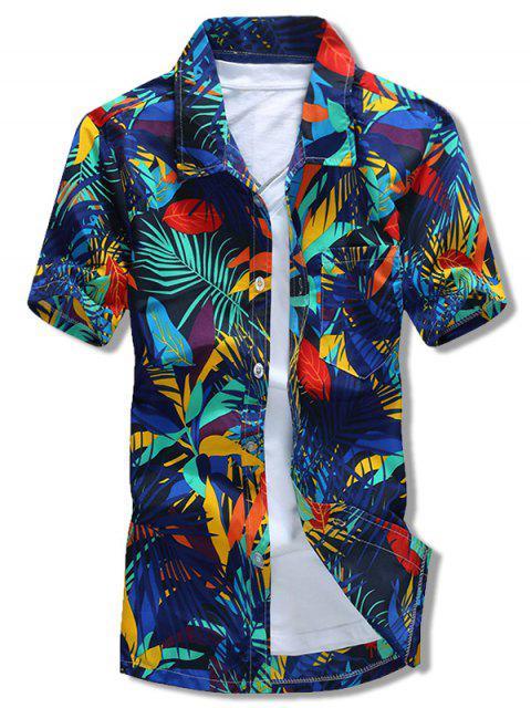 hot Plants Leaves Print Beach Short Sleeves Casaul Shirt - MULTI-B L Mobile