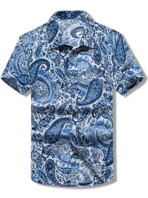 outfit Paisley Print Short Sleeves Casual Shirt - BLUE M Mobile