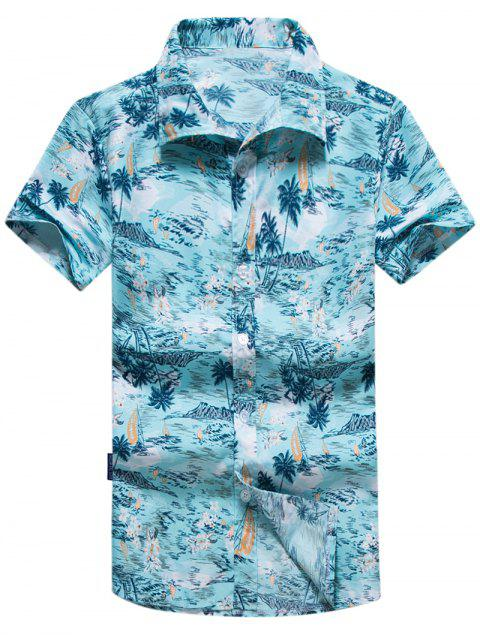 shop Coconut Trees Flowers Print Casual Short Sleeves Shirt - MULTI S Mobile